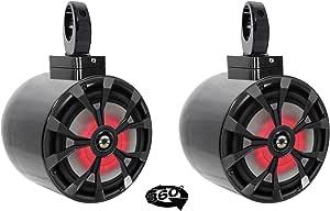 "2 Rockville 8"" LED 900 Watt 360° Swivel Black Aluminum Wakeboard Tower Speakers"