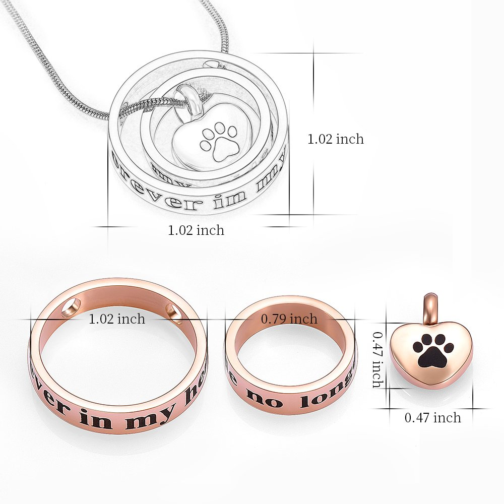 memorial jewelry Forever In My Heart,No Longer By My Side Cremation Pet Urn Necklace Screw Opens and Lock Ashes Pendant Jewelry for Dog Cat (Rose Gold) by memorial jewelry (Image #2)