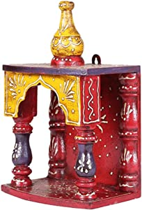 APKAMART Handcrafted Wooden Temple for Pooja - 10 Inch - Handicraft Hanging Temple for Puja, Home Decor, Room Decor and Gifts