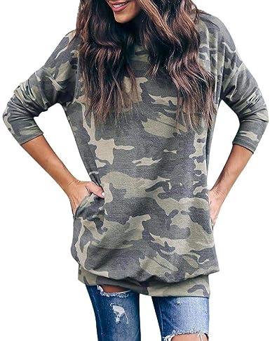 Sudadera para Mujer, Mujer Casual O-Cuello Camuflaje Manga Larga Blusa Tops Camisa Camiseta: Amazon.es: Ropa y accesorios