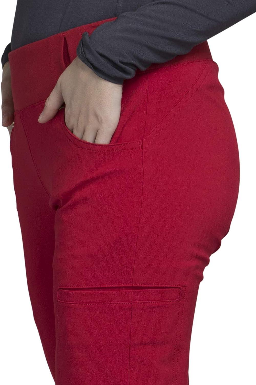 Cherokee iflex Pantal/ón de mujer de talle medio recto con pierna recta