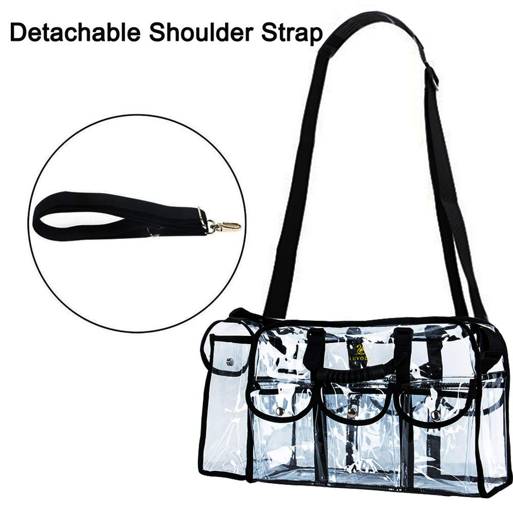 LUVODI Clear Tote Bag Transparent Bag Stadium Approved with Zipper and Detachable Shoulder Strap Women Clear Crossbody Shoulder Handbag with 6 External Pockets