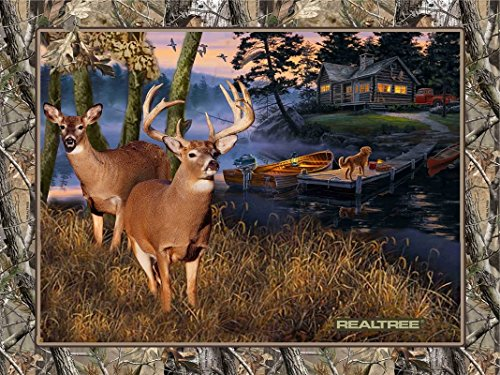 Real Tree Lakeside Sunset With Family Of Deer At Pond Cabin In - Quilt Fabric Panel Cotton