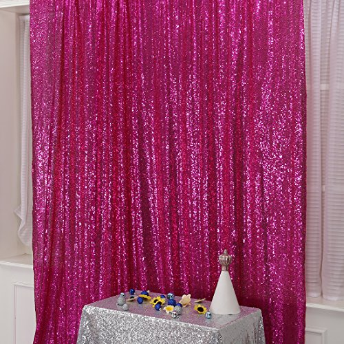 3e Home 5FT x 7FT Sequin Photography Backdrop Curtain for Party Decoration, Fuchsia
