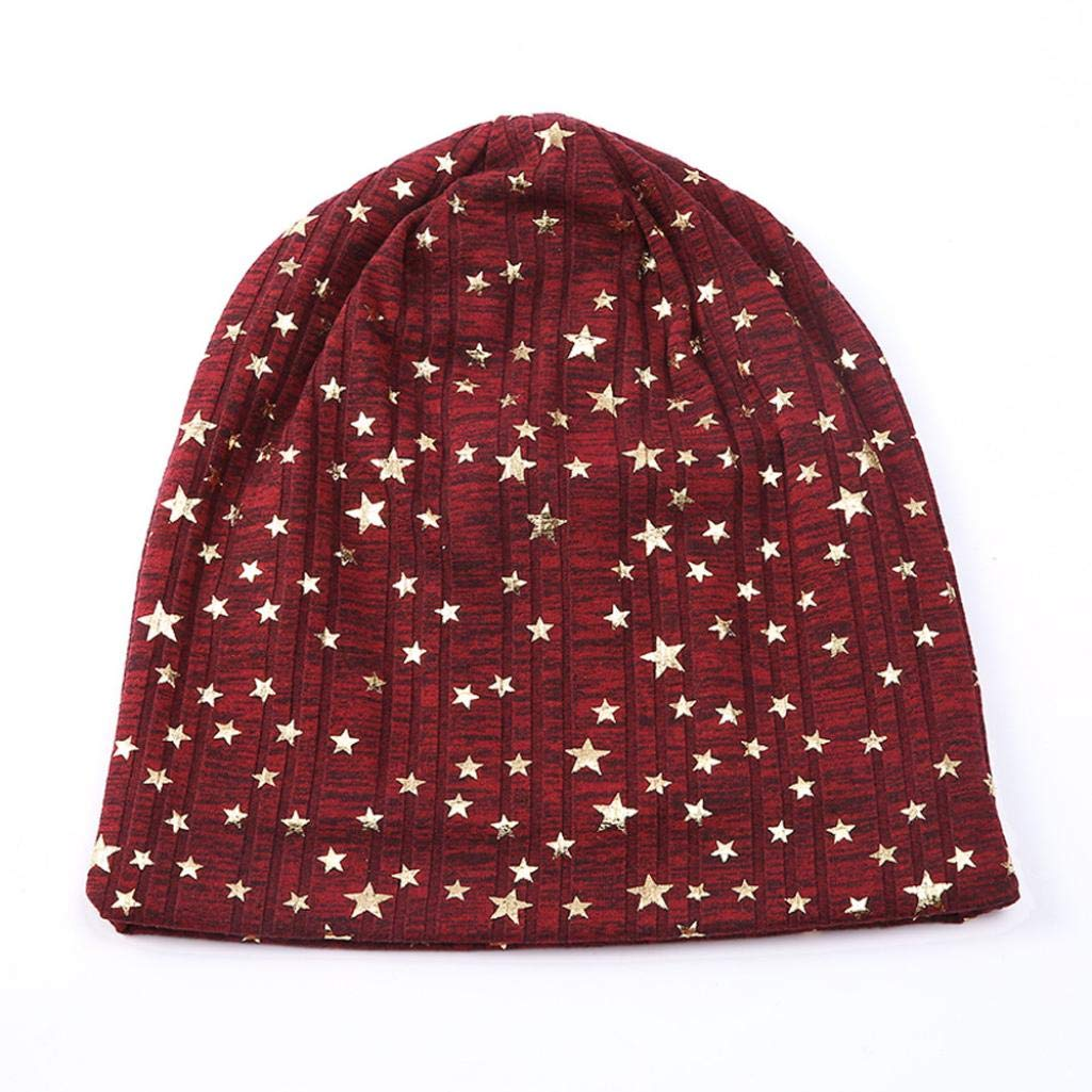 ec74d027d13 Amazon.com  Sunny Love 2018 New Unisex Star Pattern Warm Crochet Winter  Knit Ski Beanie Skull Slouchy Caps Hat (Black)  Sports   Outdoors