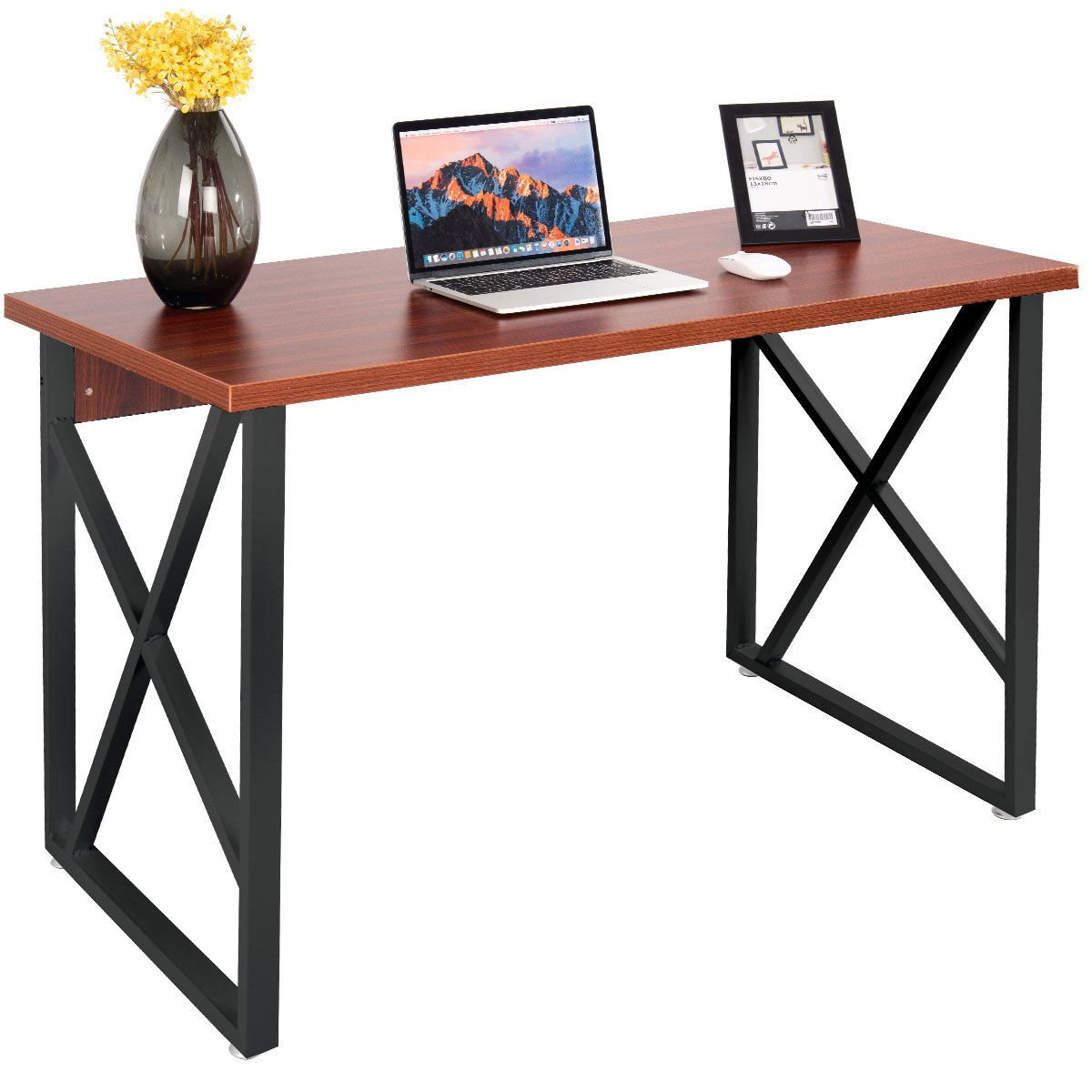 Tangkula Computer Desk PC Laptop Home Office Modern Simple Style Wood Study Workstation Writing Table Wooden Furniture Set (coffee desktop with black legs)