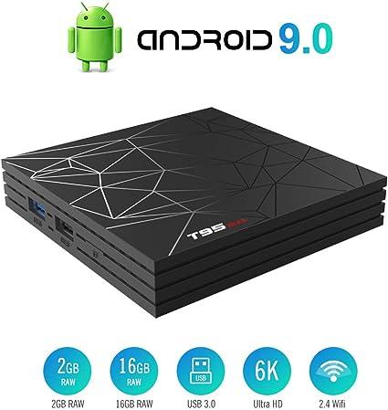 Android 9.0 TV Box Smart Media Box 2GB RAM 16GB ROM H6 Quad-Core WiFi 2.4G 100M LAN Ethernet 2USB Set Top Box Support 6K Ultra HD Internet Video Player: Amazon.es: Electrónica