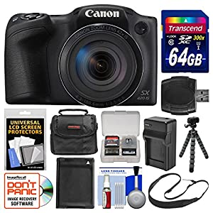 Canon PowerShot SX420 IS Wi-Fi Digital Camera with 64GB Card + Case + Battery & Charger + Flex Tripod + Sling Strap + Kit