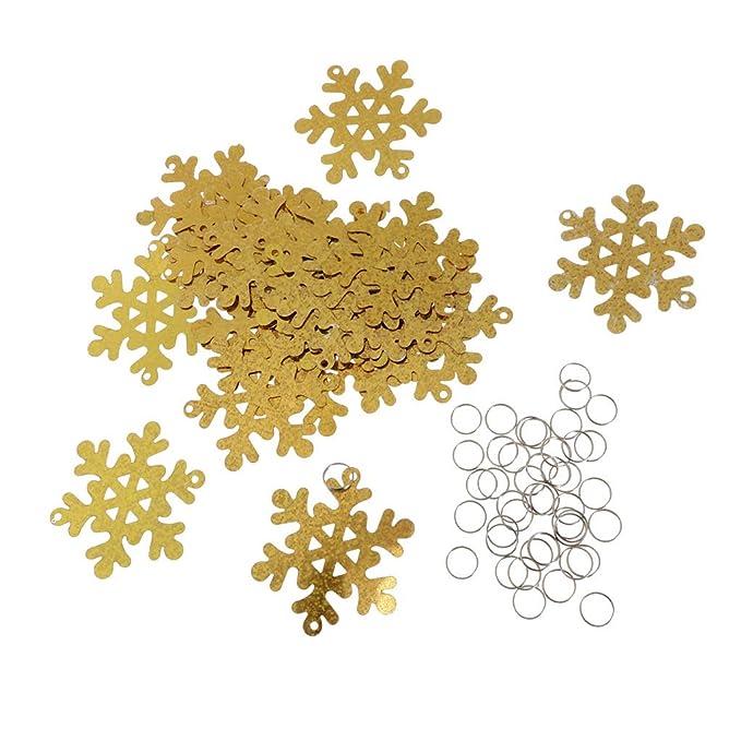 30x Weihnachten Schneeflocken Hängedeko mit Loch und Reifen DIY Girlande