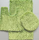 Hot Pink and Lime Green Shower Curtain Majestic 3-Piece JELLY CHENILLE Bathroom Mat Set, Bath Mat, Contour and Cover - (Lime Green)