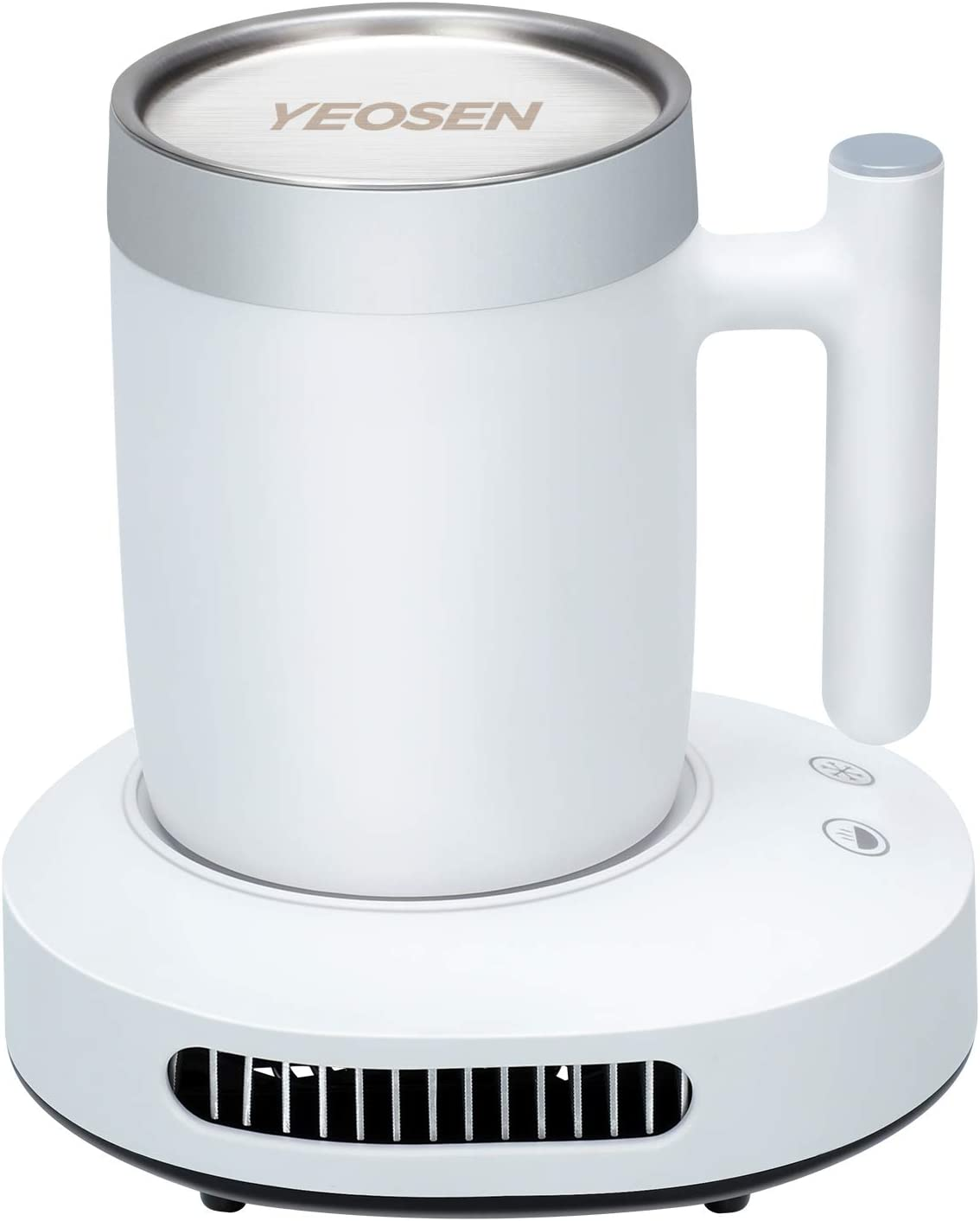 YEOSEN Coffee Mug Warmer and Cooler - 2 IN 1 Beverage Warmer and Drink Cooler with Mug, Auto Shut Off Mug Cooler and Warmer for Office Desk Use (Up to 131F or 46F), White