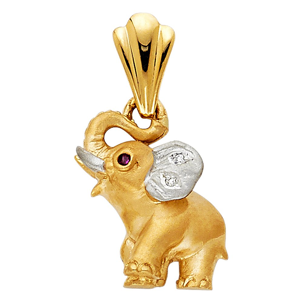 Million Charms 14K Two-tone Gold with White CZ Accented Elephant Charm Pendant 17mm x 14mm