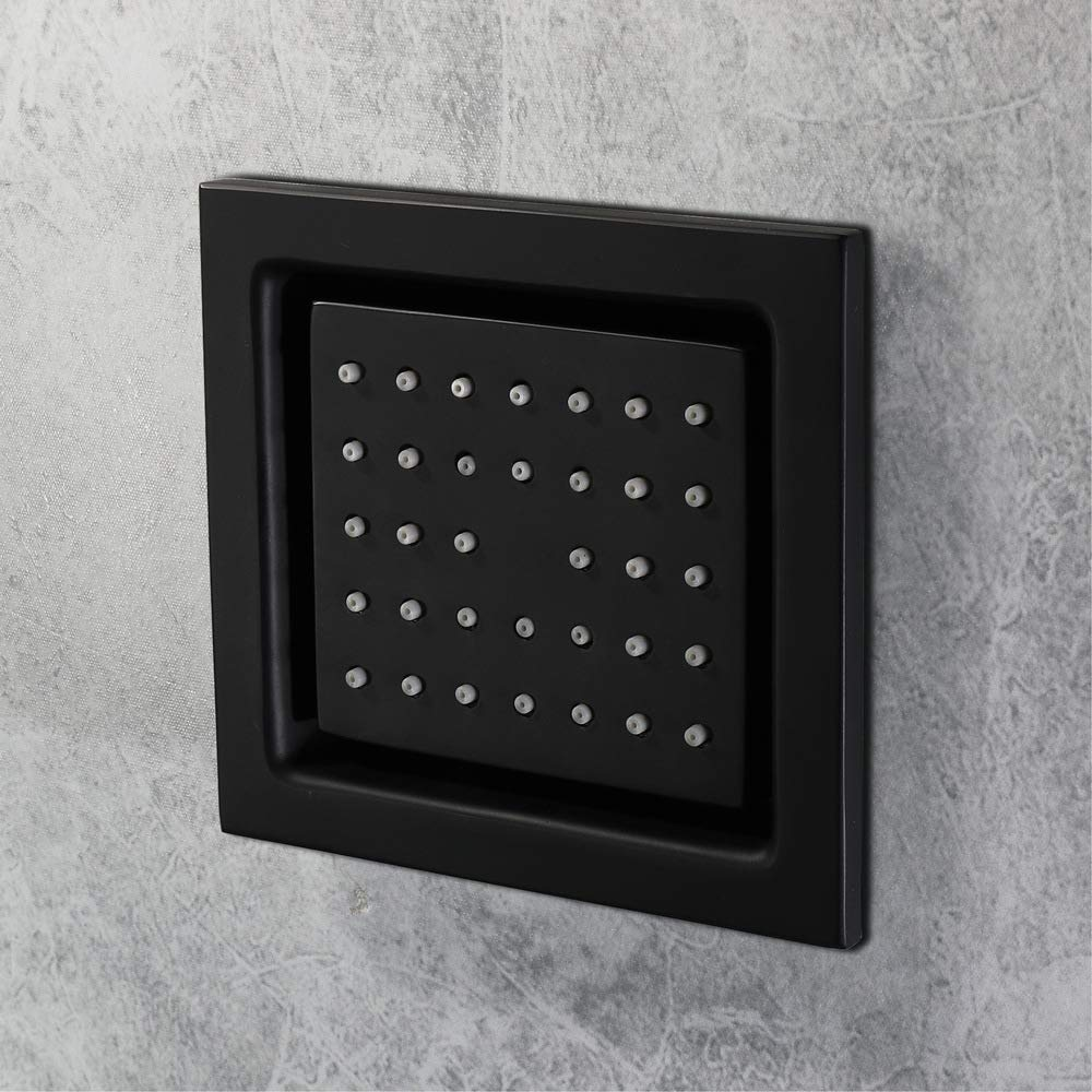 5 Inch Black Shower Body Jets Rainfall Shower Massage Jet Brass Square Shower Bathroom Concealed Wall Sprayer Body Spa Shower (4 PCS Shower Body Jets) Shower Body Sprayers