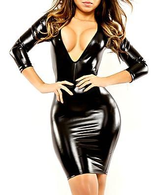 39ef643243366c IGIG Women's Wet Look Long Sleeve V-Neck Clubwear Black PVC Leather Bandage  Dress Medium