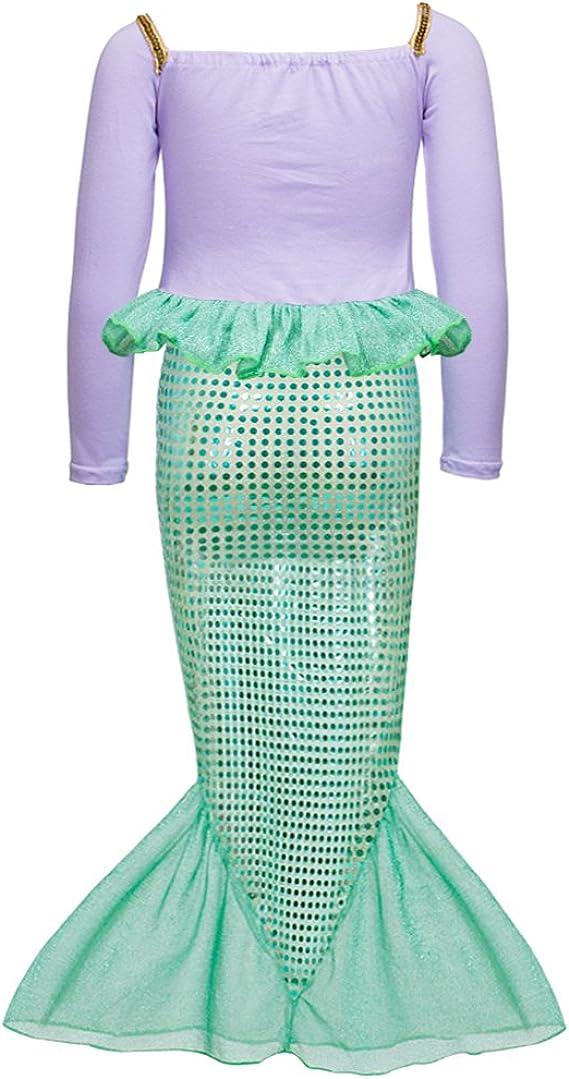 Spring Long Sleeves Mermaid Princess Dress Costume for Little Girls