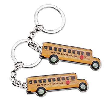 2x Yellow New York NY School Bus / Retro Style Design Keychain NYC Souvenir Key Chain Ring - Set of 2