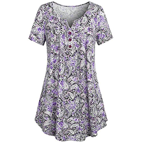 Howley Women's Short Sleeve Tunic Tops Shirt,Plus Size Crewneck Button-up Ruched Blouse (Purple, 2XL) ()