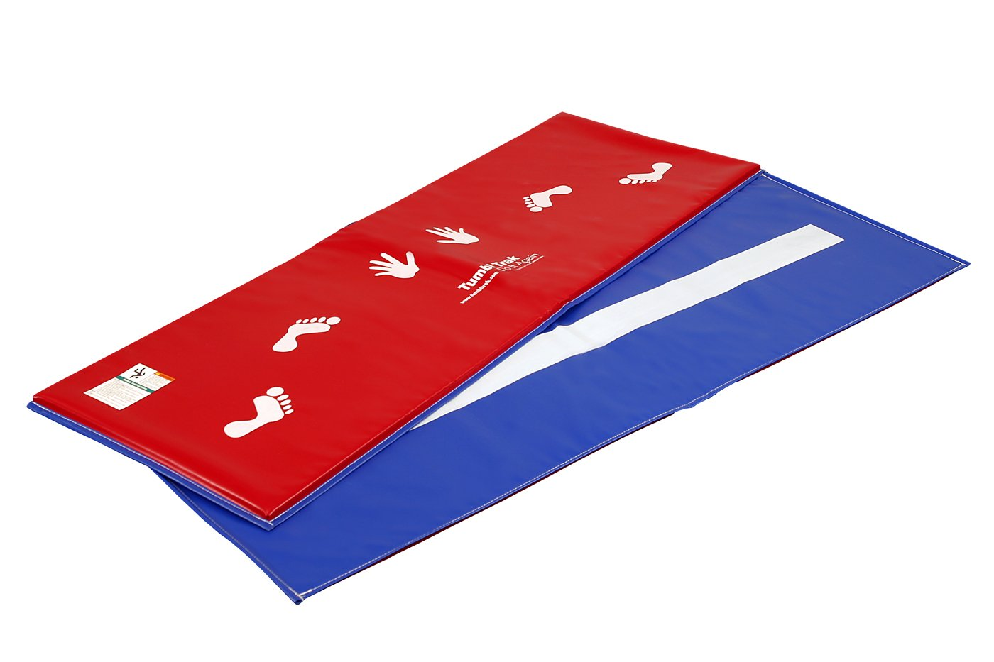 Tumbl Trak Red and Royal Blue Cartwheel Beam Mat, Hands and Feet on Red Side and Beam Line on Royal Blue Side, 2-Feet Width x 6-Feet Length x 5/8-Inch Height