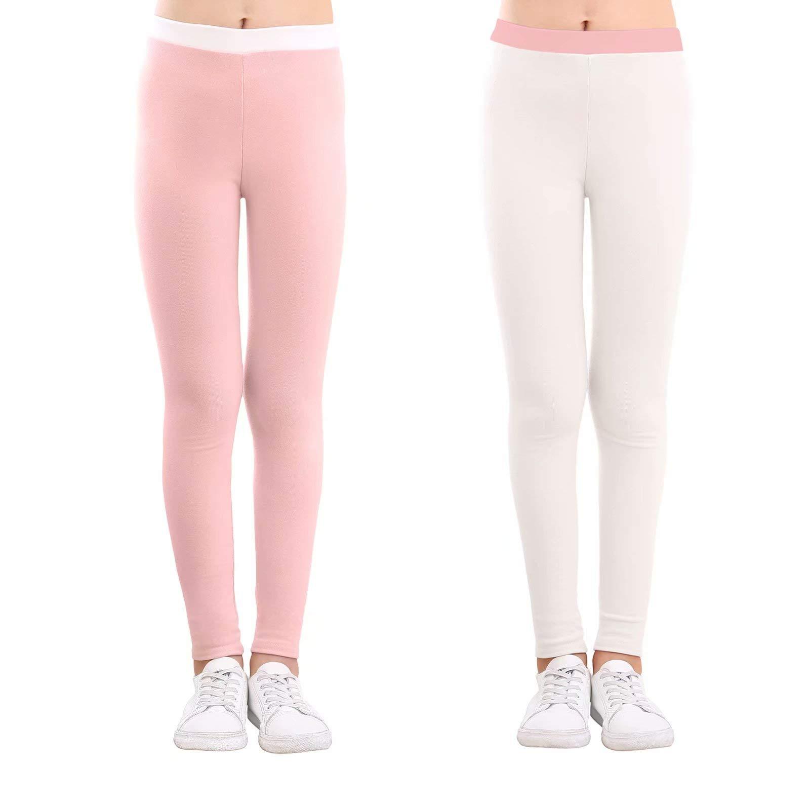 slaixiu Cotton Ankle Length Girls Leggings Stretchy Kids Pants 3-12y(GP04_Pink&White_110)