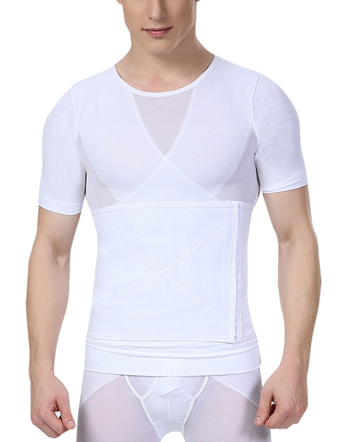 Aieoe Men Compression Shirt Chest Slimming Body Shaper Undershirt Hook & Eye Closure