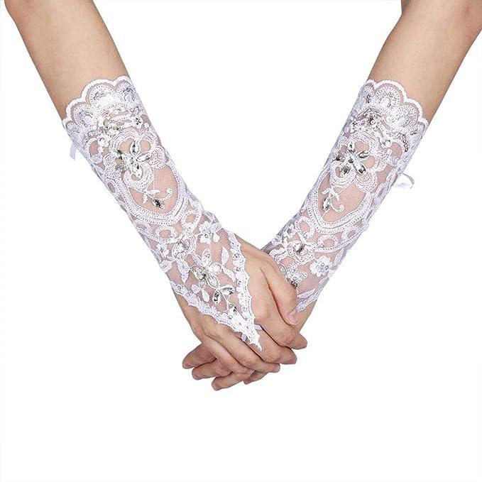 Amazon.com: Lacey marfil Rhinestone guantes sin dedos para ...