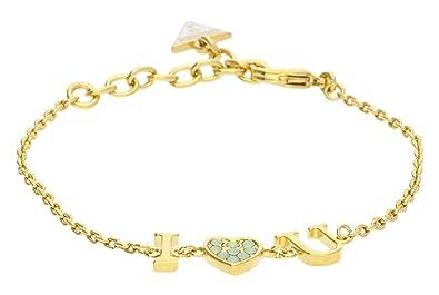 Guess Damen-Armband KISS   Love mit Anhänger Edelstahl teilvergoldet  Kristall grün 19 cm- e7ee200aac