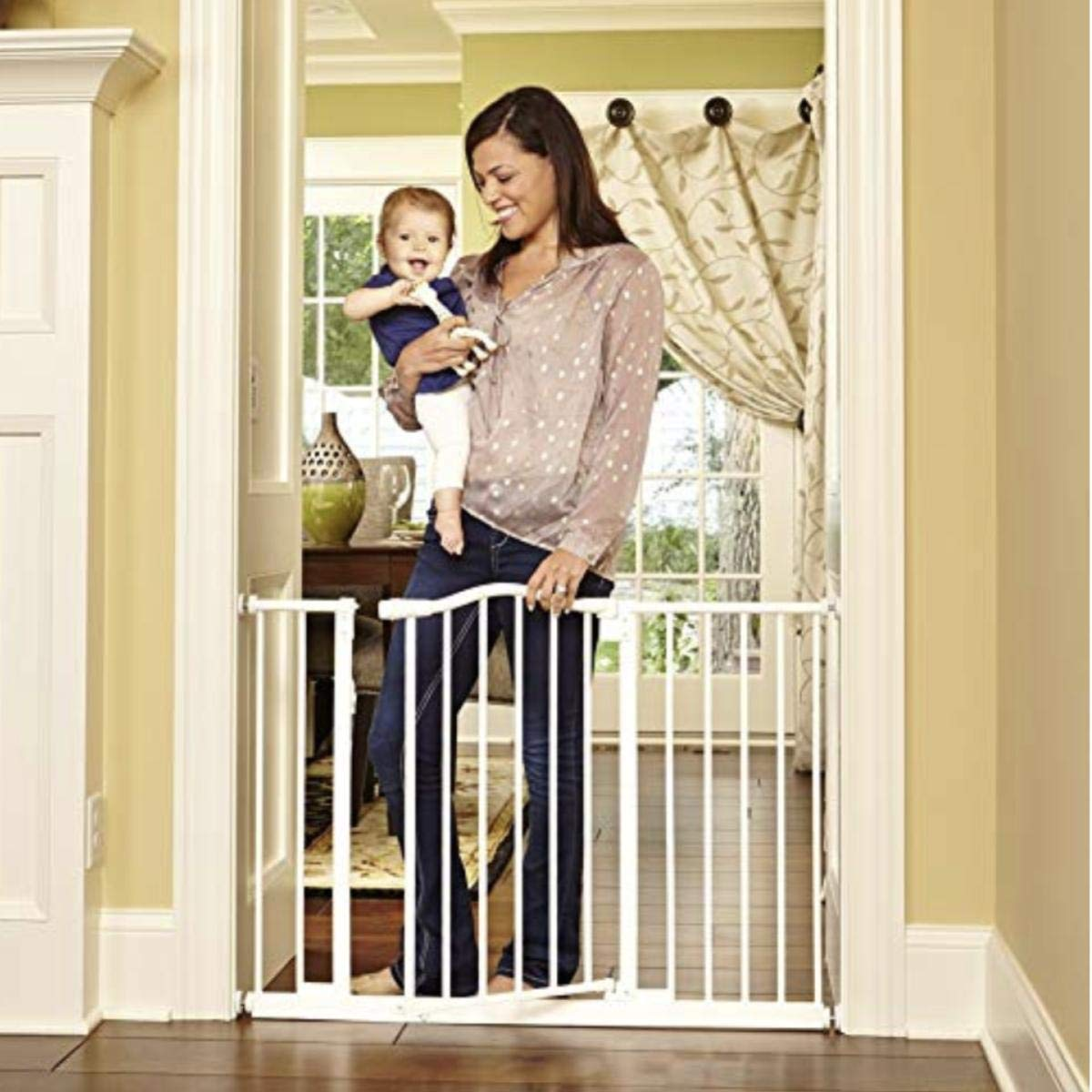 North states 46.8 Wide Wide Portico Arch Baby Gate Decorative heavy-duty metal safety gate with one-hand operation. Pressure Mount. Fits 28.2 -46.8 wide 30 tall, Soft White
