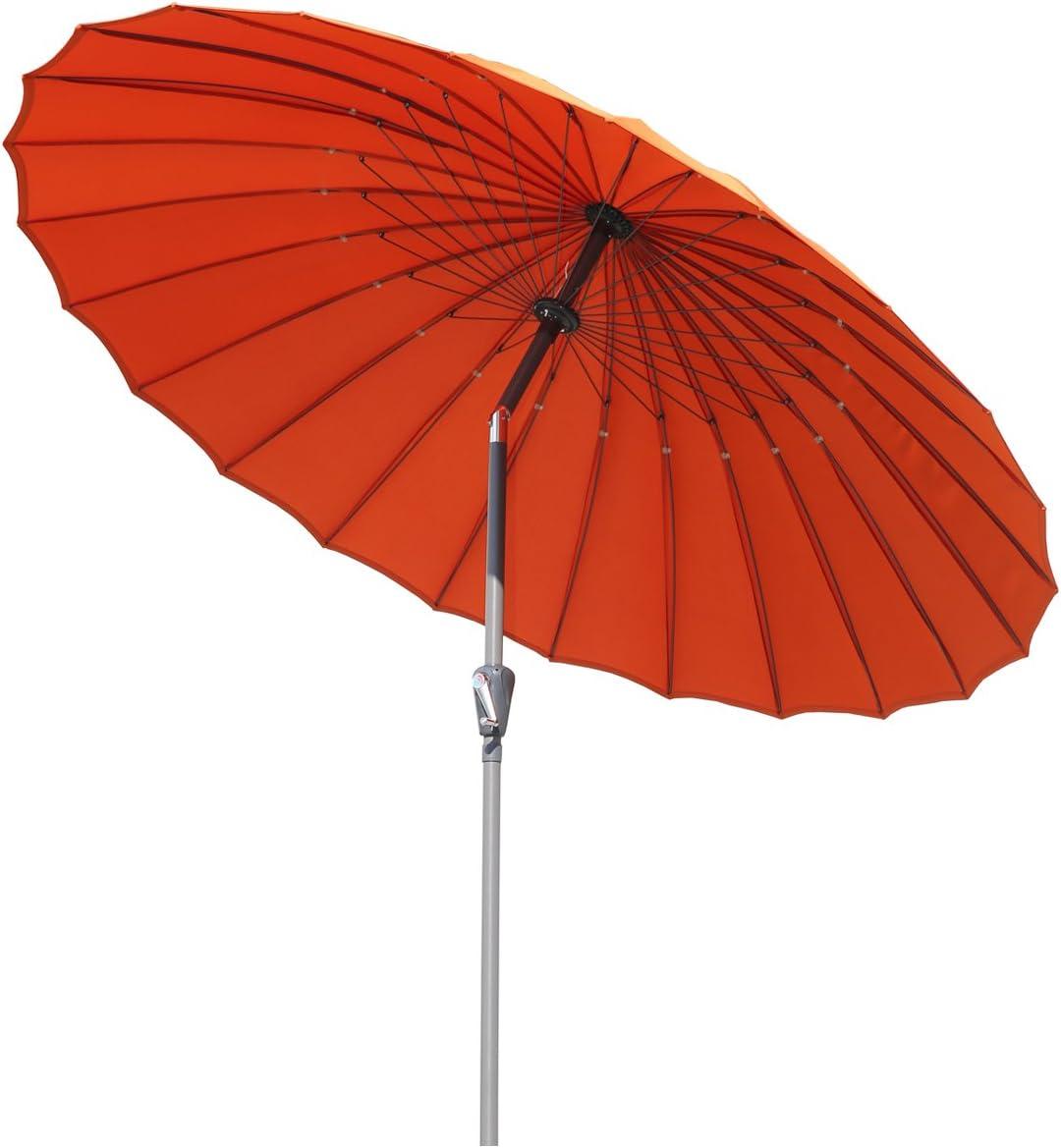 Angel Living 250cm Parasol de Acero y Aluminio de Jardín con Manivela, Sombrilla Inclinada Muy Estado con Mástil de Diamentro de 38mm, para Jardín Patío Terraza (Terracota)