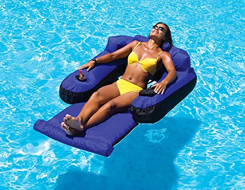"UPC 093422134712, 55"" Water Sports Blue and Black Inflatable Ultimate Floating Swimming Pool Chair Lounger"