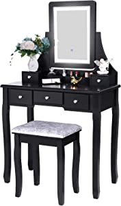 BEWISHOME Vanity Set with Lighted Mirror Dimming, Touch Screen Switch & Cushioned Stool Dressing Table Makeup Vanity Makeup Table 5 Drawers 2 Dividers Removable Organizers Black FST07H