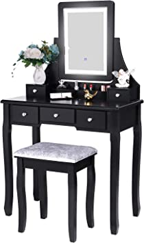 Amazon Com Bewishome Vanity Set With Lighted Mirror Dimming Touch Screen Switch Cushioned Stool Dressing Table Makeup Vanity Makeup Table 5 Drawers 2 Dividers Removable Organizers Black Fst07h Kitchen Dining