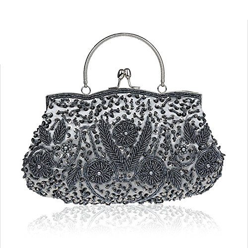 Women Clutch Bags Purses Elegant Bride Autumn Handmade Handbags Messenger Vintage Wedding Water Silver White Gold Bags Beaded for Party Evening xPTwq8