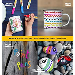 Paint Pens Markers Set of 15: Variety of Shades Including Gold, Silver and White. Medium Point Permanent Color Pens for Rocks, Wood, Plastic and Metal. Quick Dry, Water Resistant for Every Surface