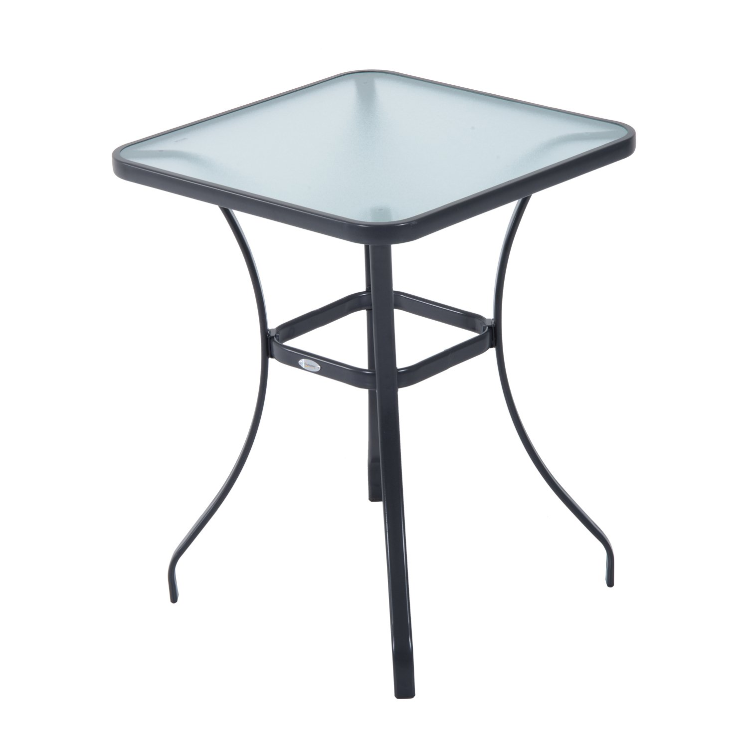 Outsunny 34'' Outdoor Glass Top Bistro Table - Black