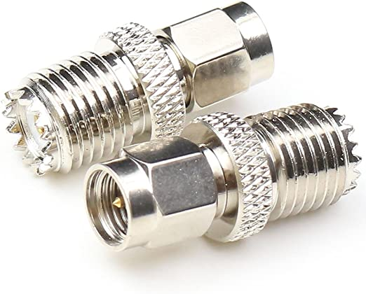 SMA Male to Mini UHF Female Adapter Straight coaxial Cable Connector RF Coax Adapter Nickel Plated 2QTYs ships from USA