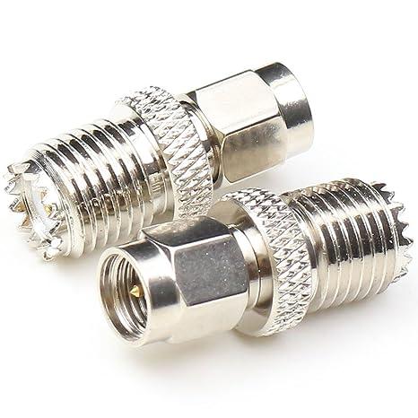 anhan SMA macho a mini UHF hembra adaptador Cable Coaxial recto conector RF coaxial adaptador chapado