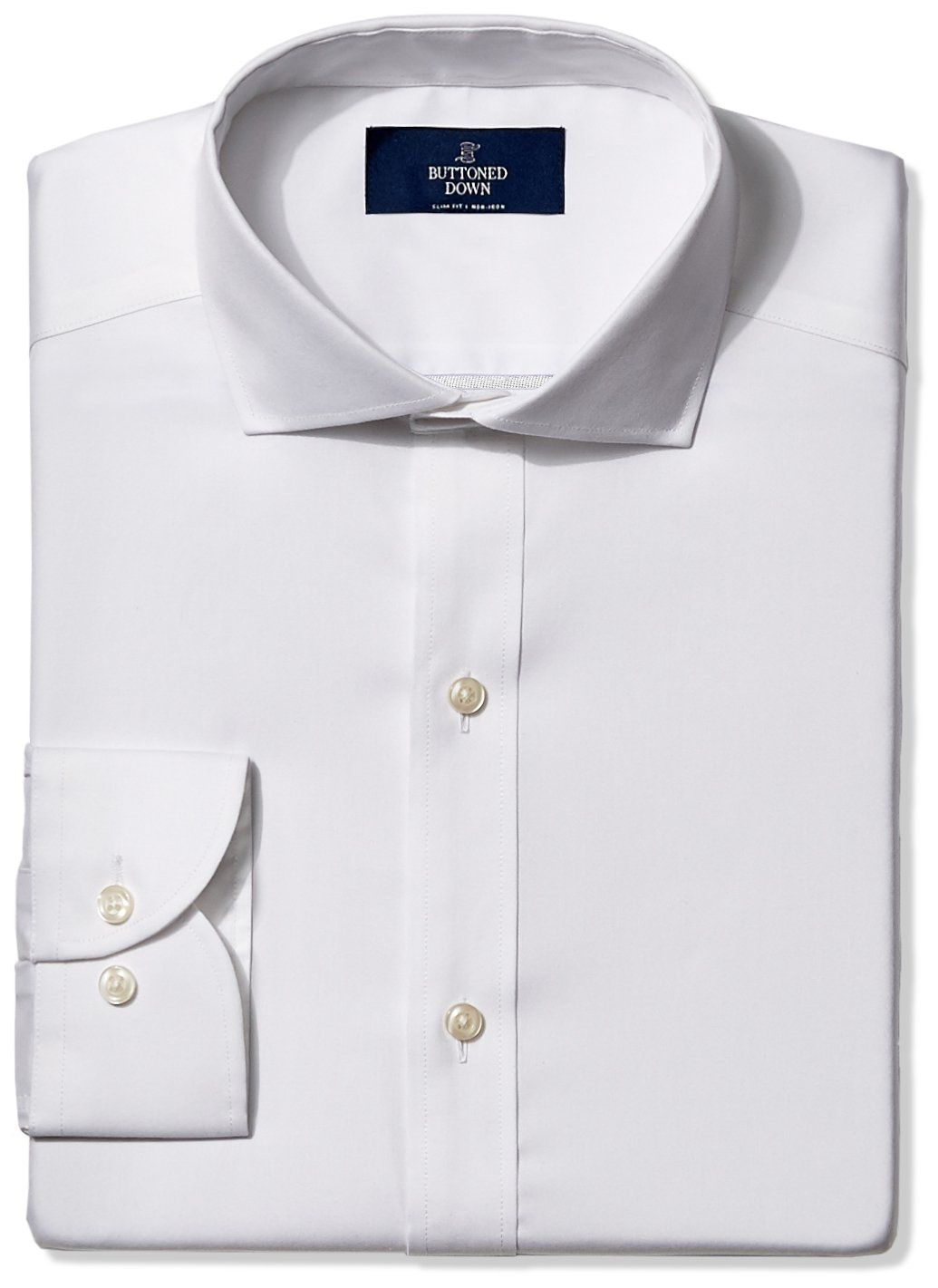 Buttoned Down Men's Slim Fit Cutaway-Collar Non-Iron Dress Shirt (No Pocket), White, 17.5'' Neck 36'' Sleeve