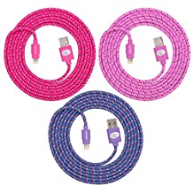Premium Fabric Braided Lightning USB Sync Cable Cord Charger for Apple iPhone 6 / 6 Plus, iPhone 5 / 5S / 5C, iPod Nano 7, iPod Touch 5, iPad 4, iPad with Retina Display and the iPad Mini- FIT FOR ALL CASES (Hot Pink - Purple - Pink)