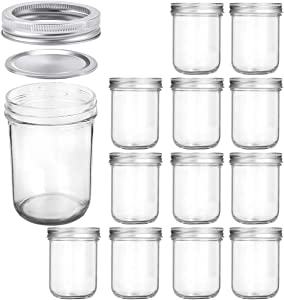 Wide Mouth Mason Jars 16 oz, KAMOTA 16oz Mason Jars Canning Jars Jelly Jars With Wide Mouth Lids and Bands, Ideal for Jam, Honey, Wedding Favors, Shower Favors, Baby Foods, 12 PACK