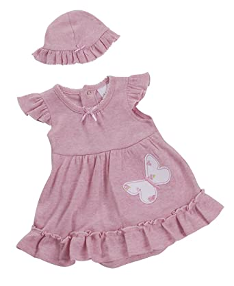 049d171d BABYTOWN Baby Girl Bodysuit Dress and Hat Set Newborn-12 Months Charming  Floral: Amazon.co.uk: Clothing
