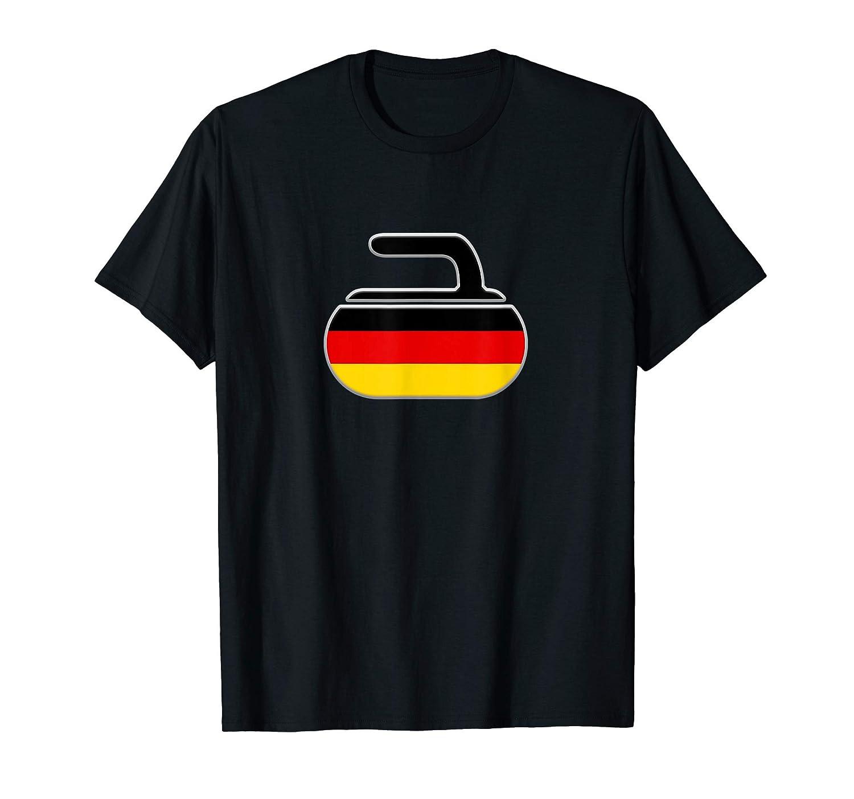 Vintage Curling Stone CurlドイツドイツのカーリングフラッグTシャツ B07SVNZY39