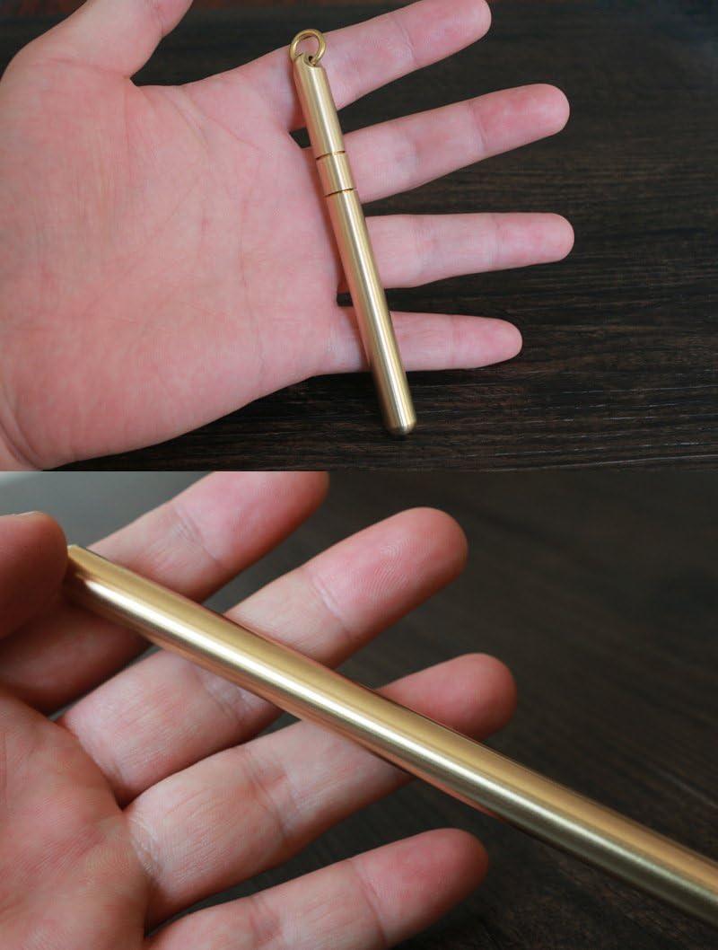 Large Size Handmade Solid Brass Portable EDC Pocket Pen Christmas Gift Gel Pen