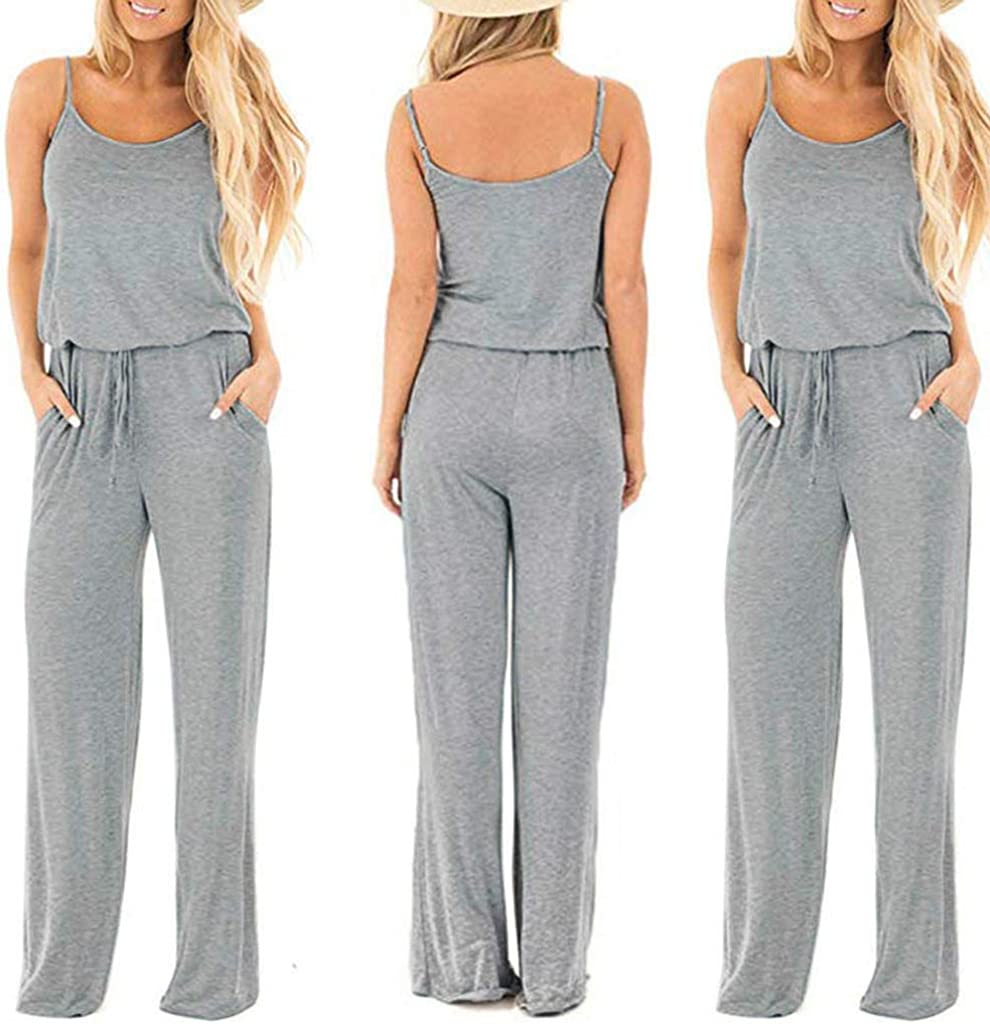 Jentouzz Women Sleeveless Jumpsuit Casual Loose Playsuit Solid Drawstring Long Trousers Sports Brief Rompers in Gray