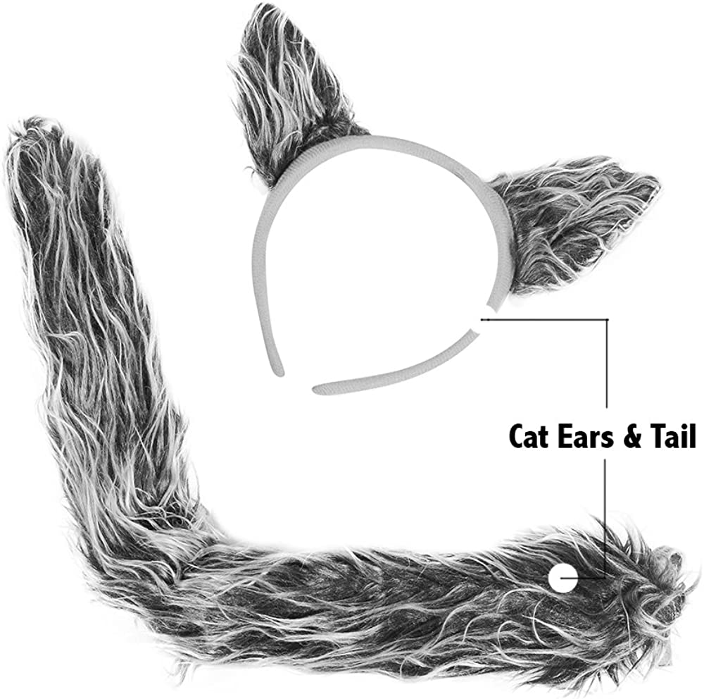 Wolf Ears /& Tail Set Funny Party Hats Wolf Costume Accessories Halloween Costume Ears