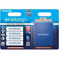 Panasonic Eneloop AA 1900mAh Eneloop NiMH Ready to Use Rechargeable Battery with Battery Box BK-3MCCE/4BE (4 Classic Batteries & Battery Box)
