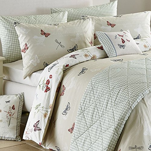 Dreams 'N' Drapes Country Journal Floral and Butterfly Print Reversible Duvet Cover Set, Multi, UK King by Dreams 'n' Drapes
