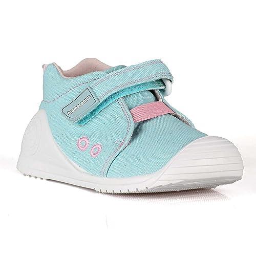 Biomecanics 182121, Zapatillas de Lona de algodón para bebés (21, Turquesa/Rosa