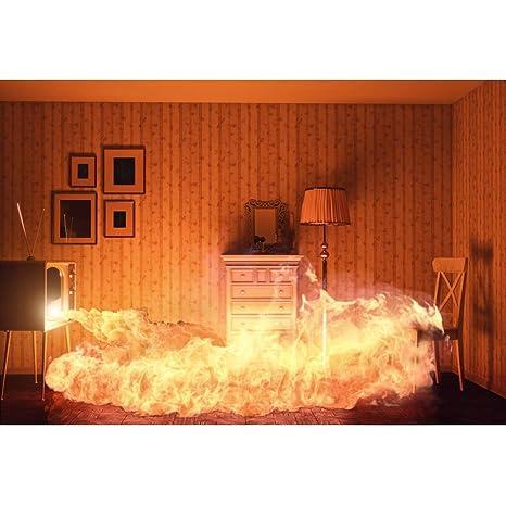 YongFoto 2,2x1,5m Vinilo Fondo de fotografía Habitación en Llamas Llamas Marcos Negros