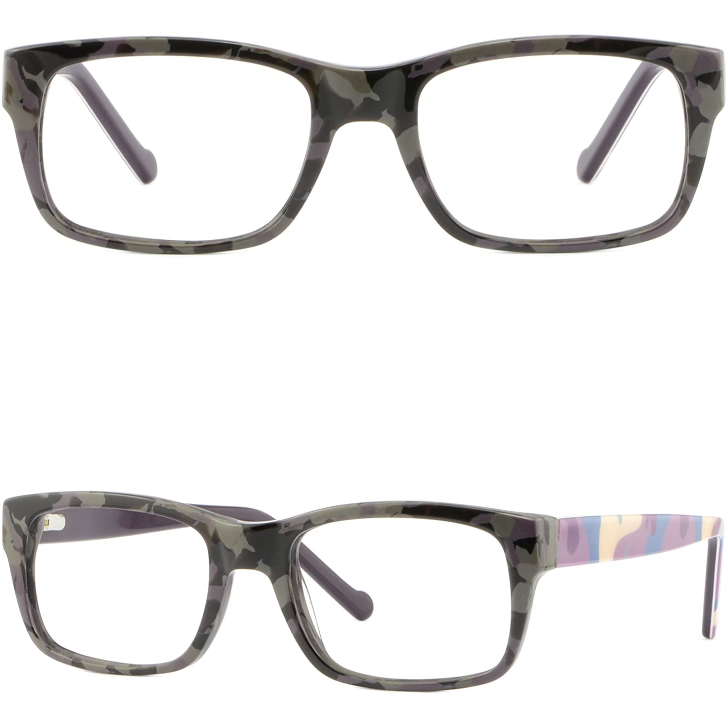 4475af5691936 Amazon.com  Rectangle Women Frame Thick Strong Prescription Glasses Spring  Hinges Black Gray  Clothing