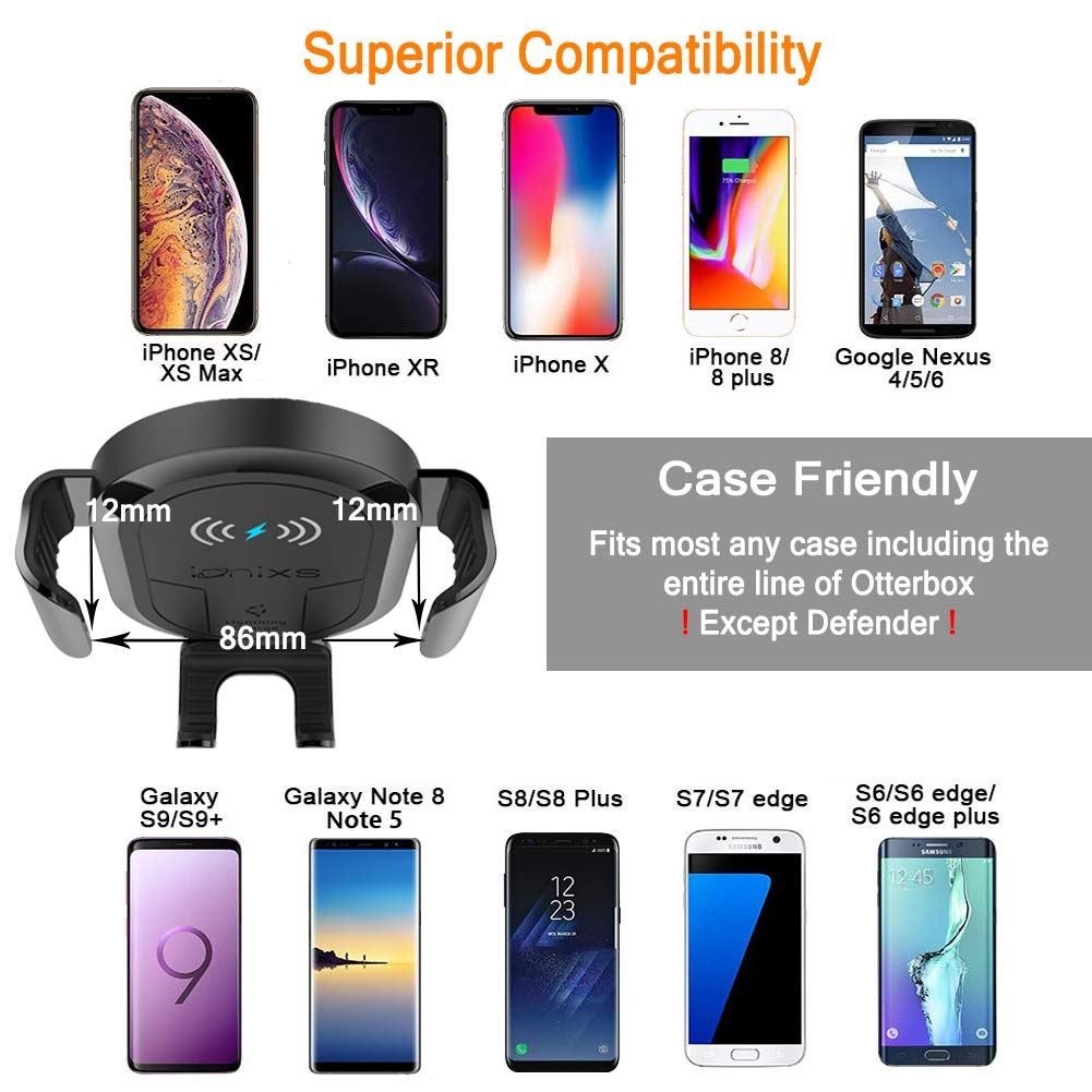- Qi Lightning Fast Charger with Air Vent Samsung Galaxy Note 9// S9// S9+// S8// S8+ 4350465775 Dashboard Premium Bundle Ionixs Wireless Car Charger Mount Flexible Neck for iPhone X//Xs Max//XR// 8//8 Plus